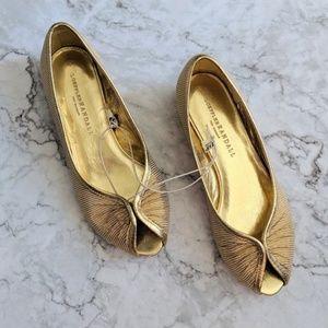Loeffler Randall for Target Gold Peep Toe Flats